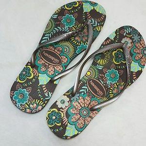 Havaianas Brown Floral Slim Flip Flop